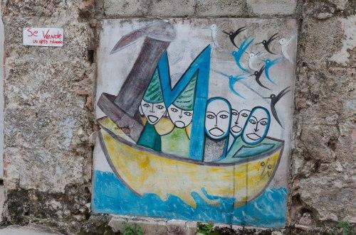 """""""Se vende apto. Eduardo"""" (en una calle de la Habana Vieja, ¿arte espontáneo?)"""