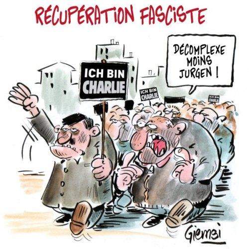 """El caricaturista francés Jean-Marc Couchet (alias Giemsi)  rechaza la """"instrumentalización fascista de Pegida"""". El parlamento de su personaje: """"Contrólate, Jürgen"""", forma parte de una acción de caricaturistas franceses que rechazan el movimiento anti-islámico alemán Pegida. (Foto: Jean-Marc Couchet alias Giemsi. Fuente: dpa, SpiegelOnline)"""